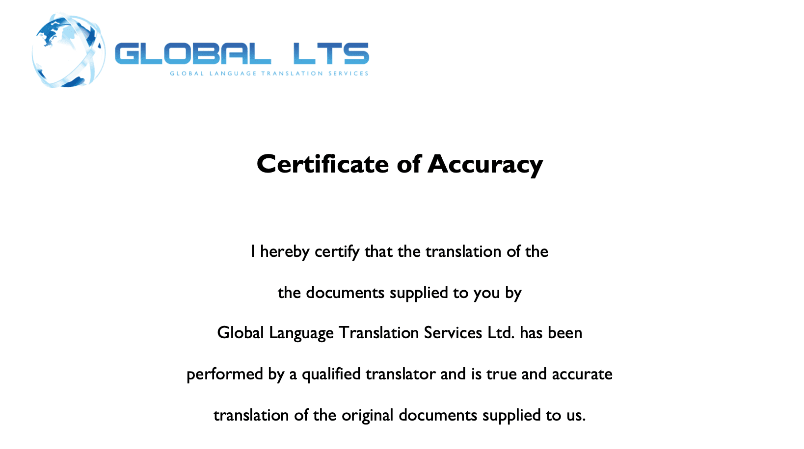 translation documents certified certificate accuracy translator accurate translated professional certification example global translations guarantee representation were