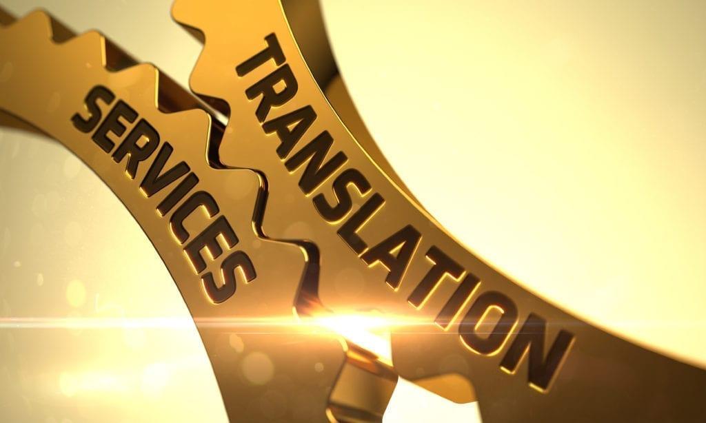 Translation Services - Technical Design. 3D Render. Golden Gears with Translation Services Concept
