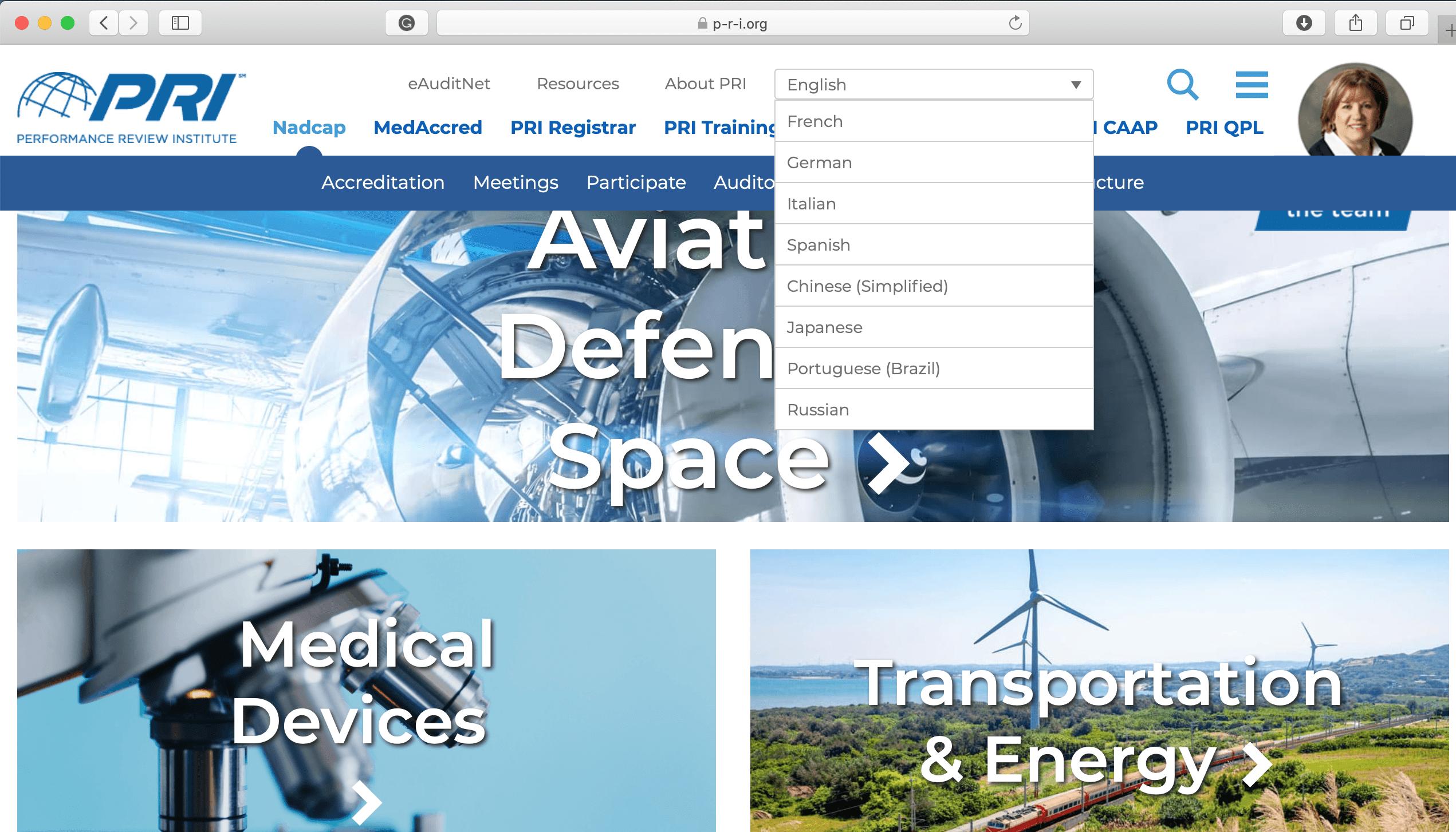 PRI website screenshot